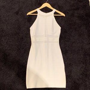 Bebe White Bandage Dress with Mesh Cutouts!